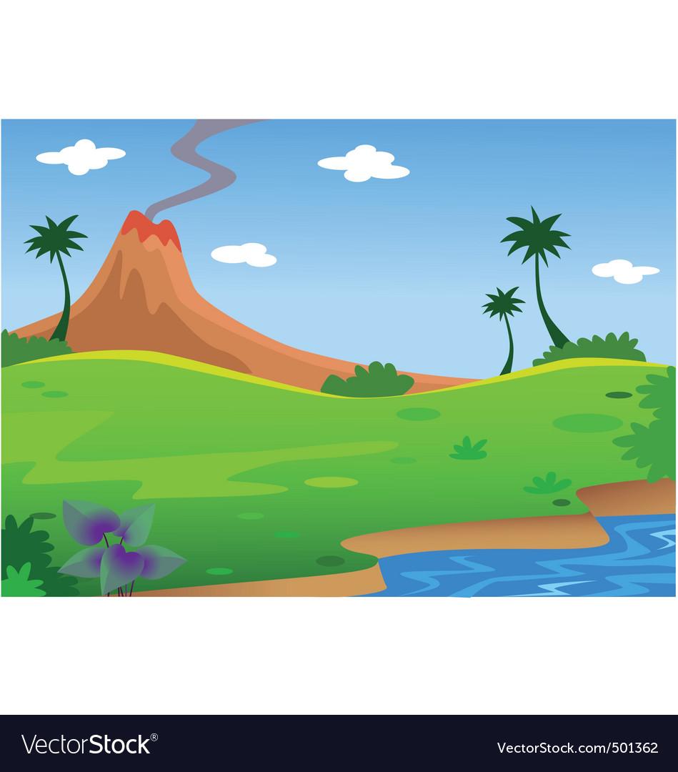 Background volcano vector