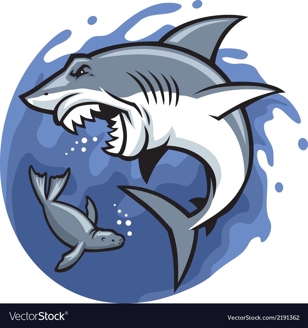 Shark and seal vector