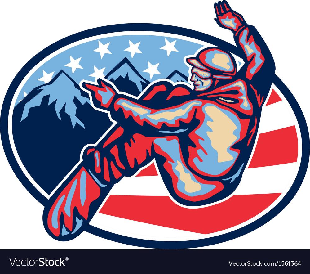 American snowboarder jumping snowboard retro vector