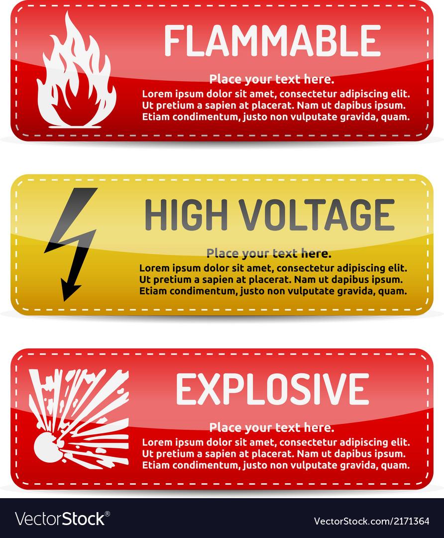 Flammable high voltage explosive - danger sign set vector