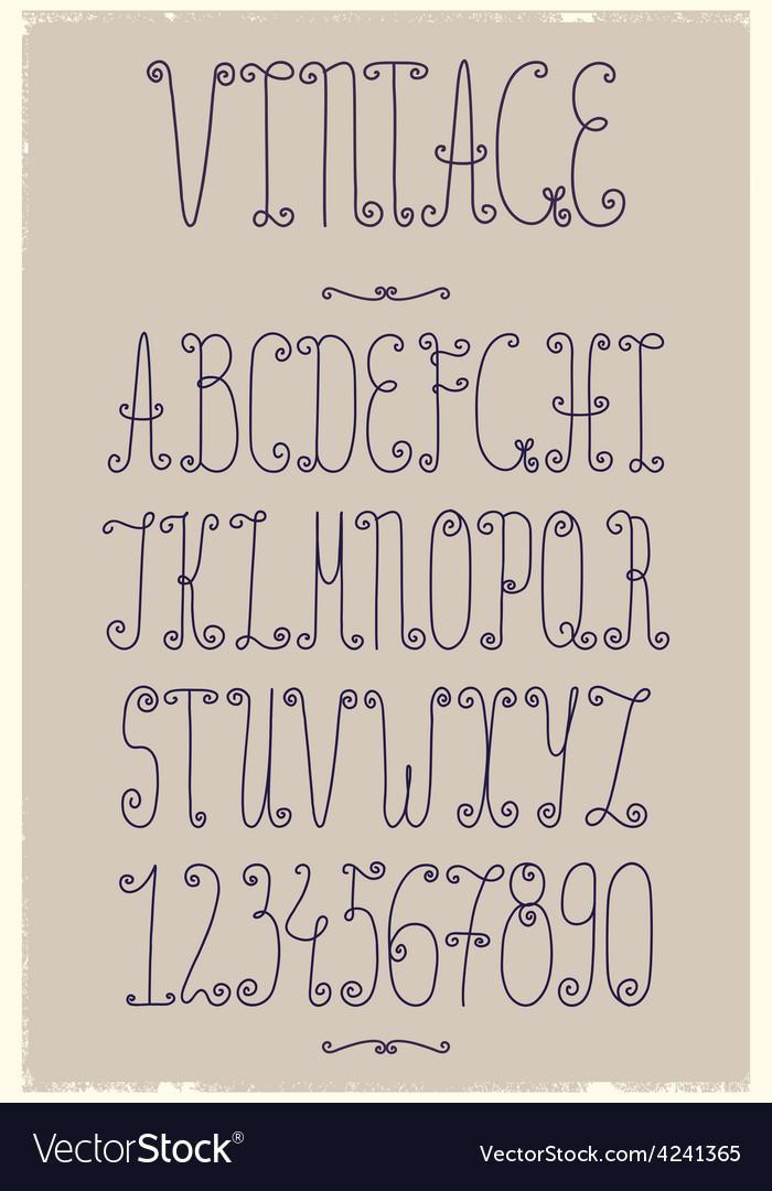 Vintage handwriting font vector