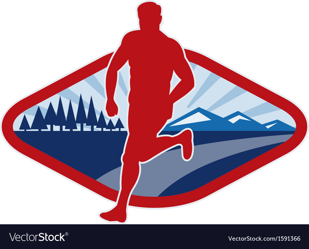 Cross country runner with landscape and sunburst vector