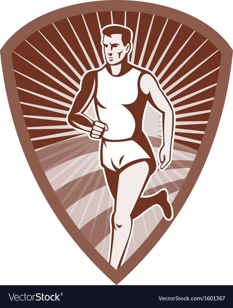 Marathon athlete sports runner shield vector
