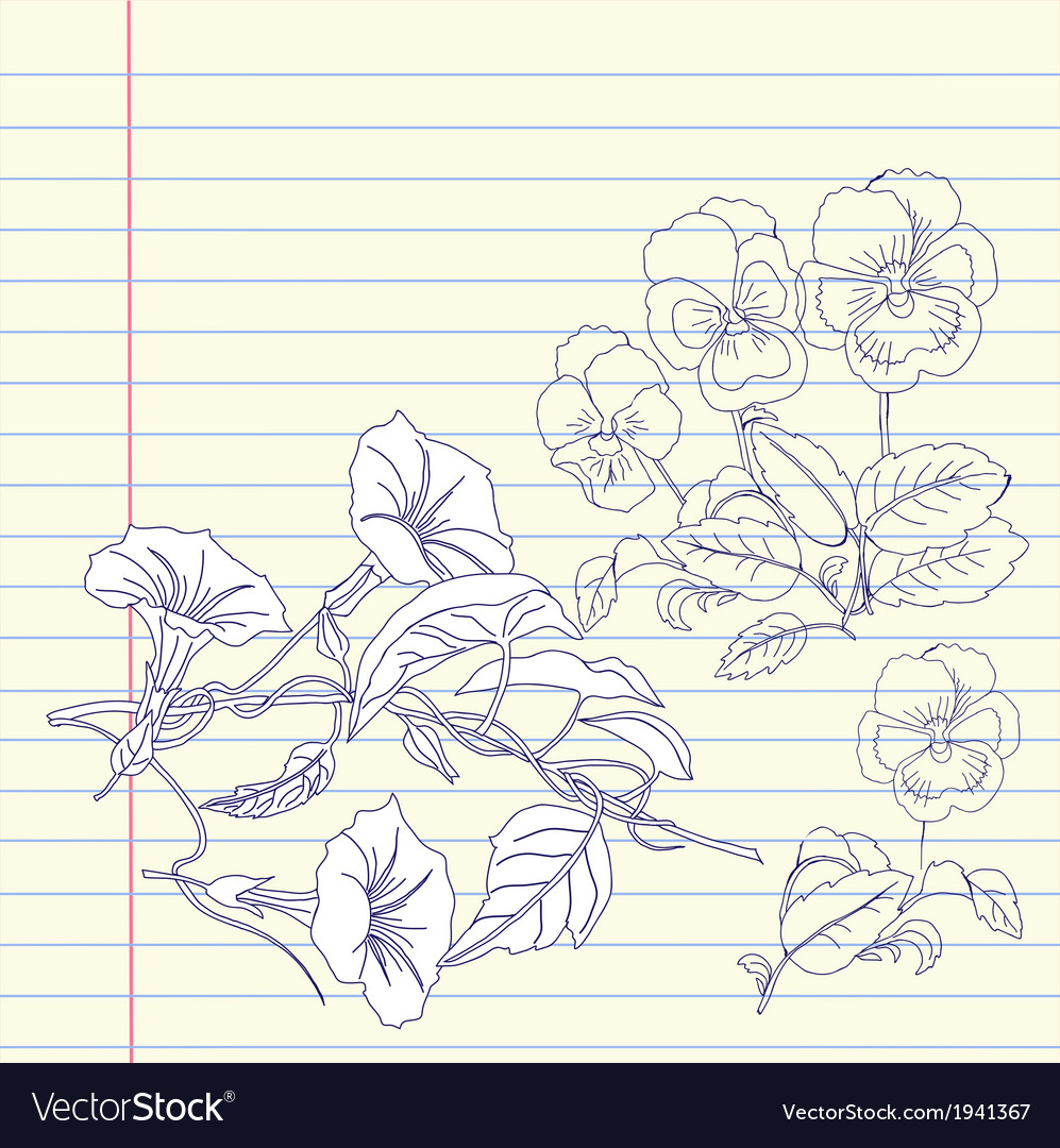 Notebook with pansies and bindweed vector