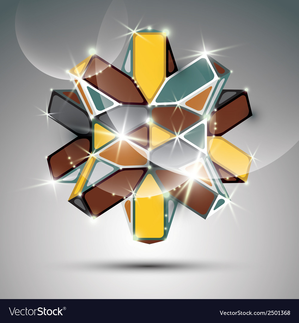3d metal glossy kaleidoscope complicated object vector