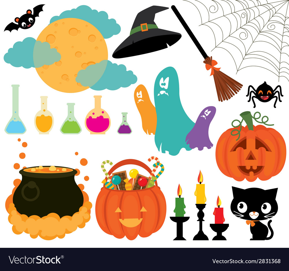 Set of magical symbols of halloween vector