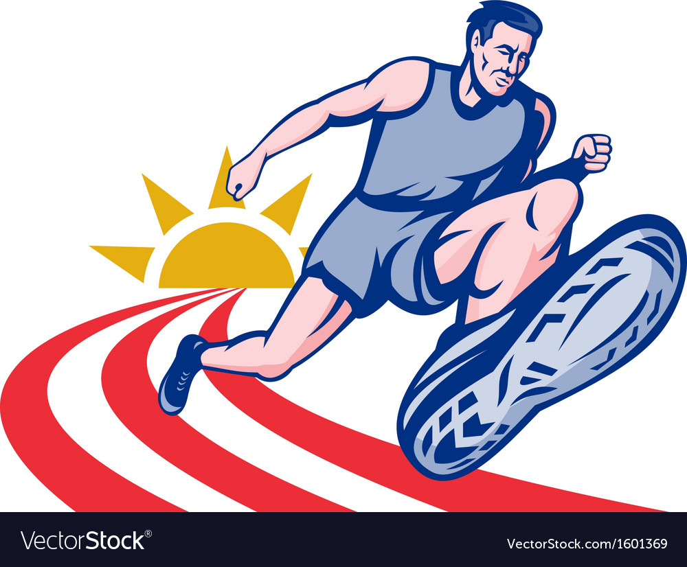 Marathon runner on track vector