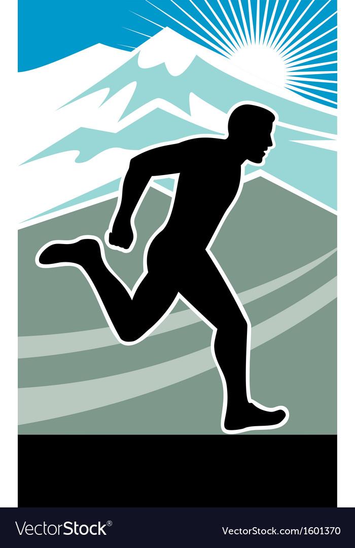 Marathon runner silhouette vector