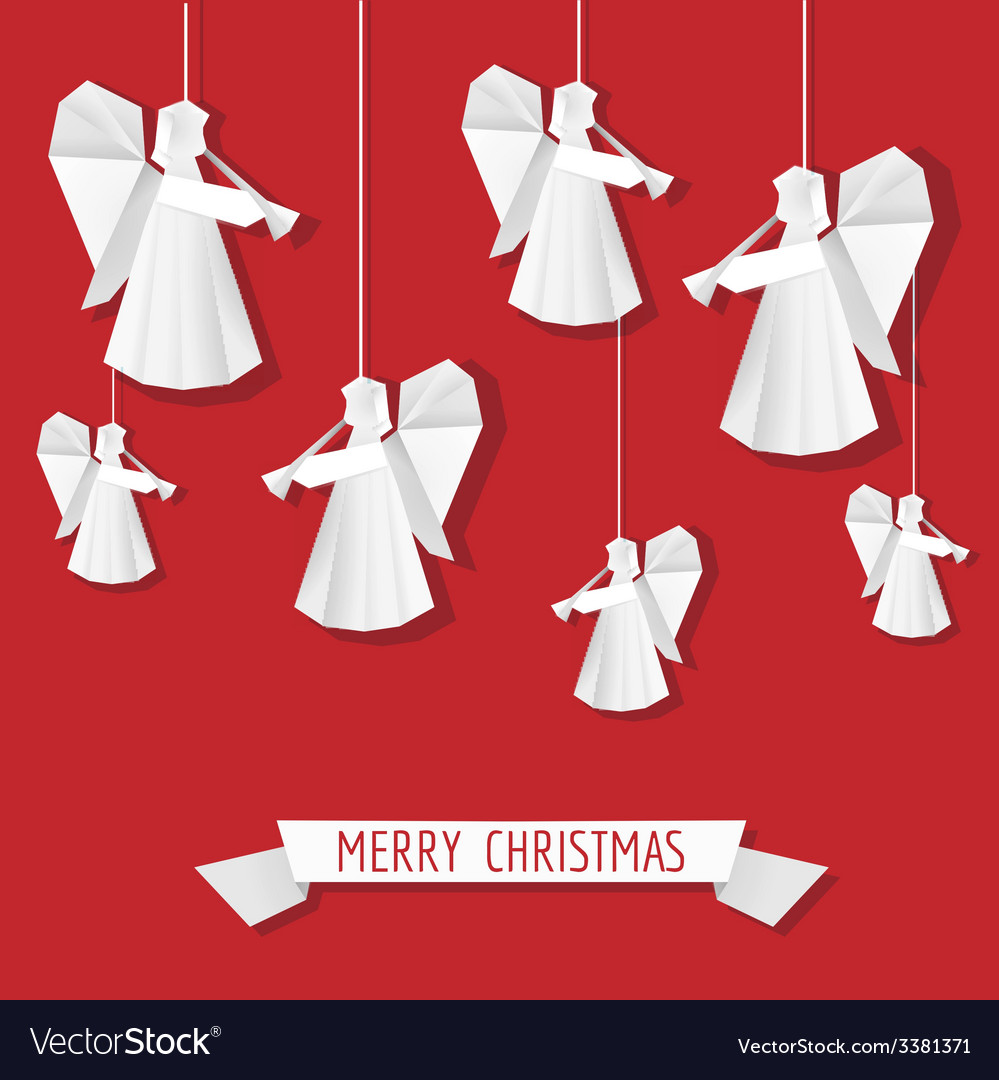 Origami paper angel - christmas background vector