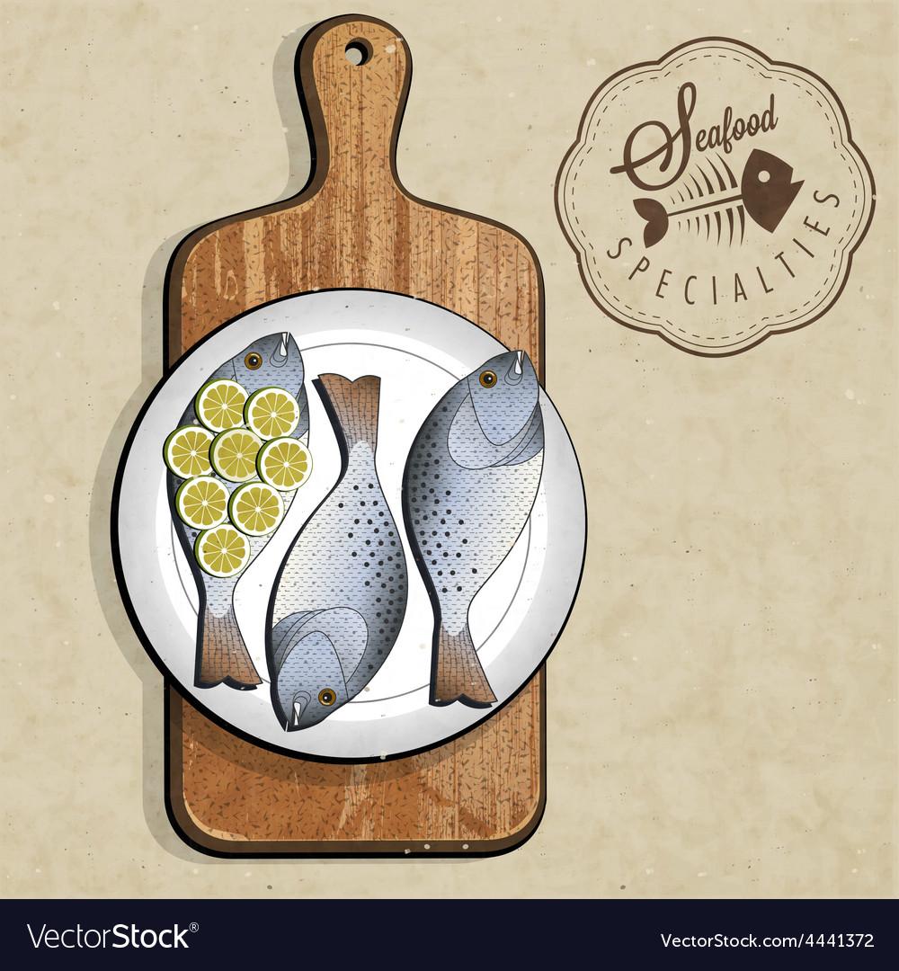 Artistic fish dish design vector