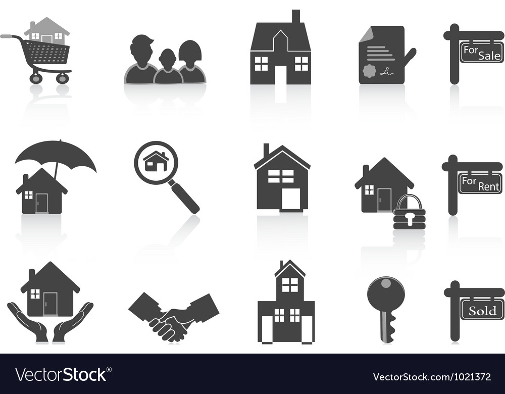 Black real estate icon vector