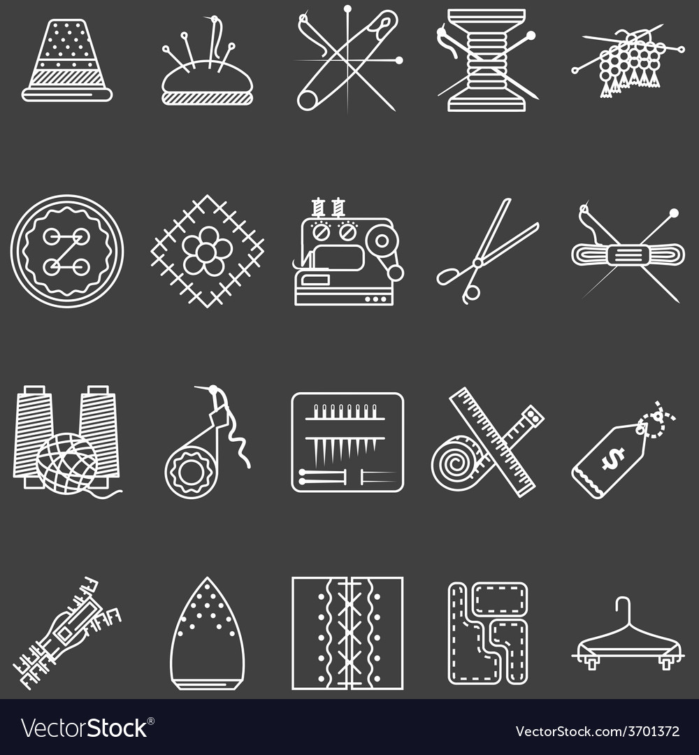 Set of white line icons for sewing vector