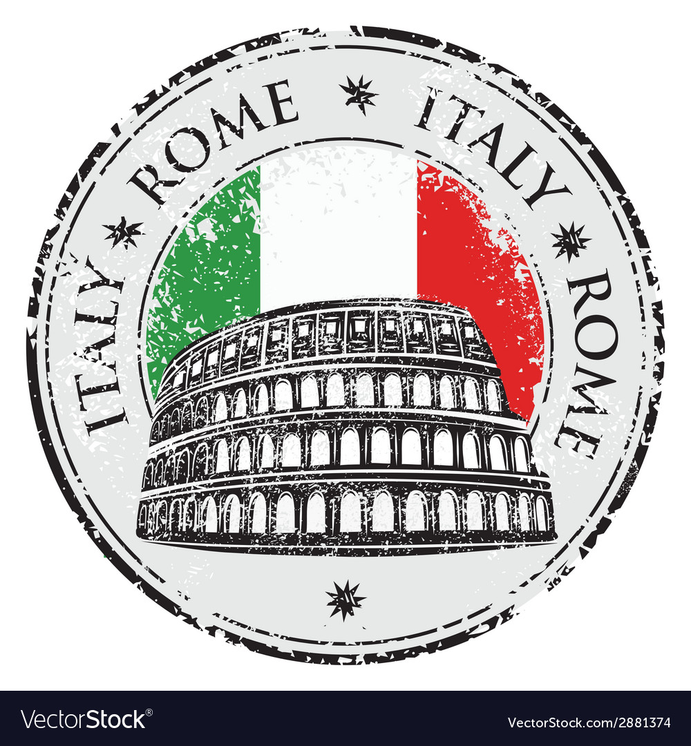Grunge rubber stamp with colosseum vector