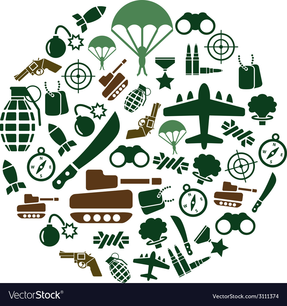 Military icons in circle vector