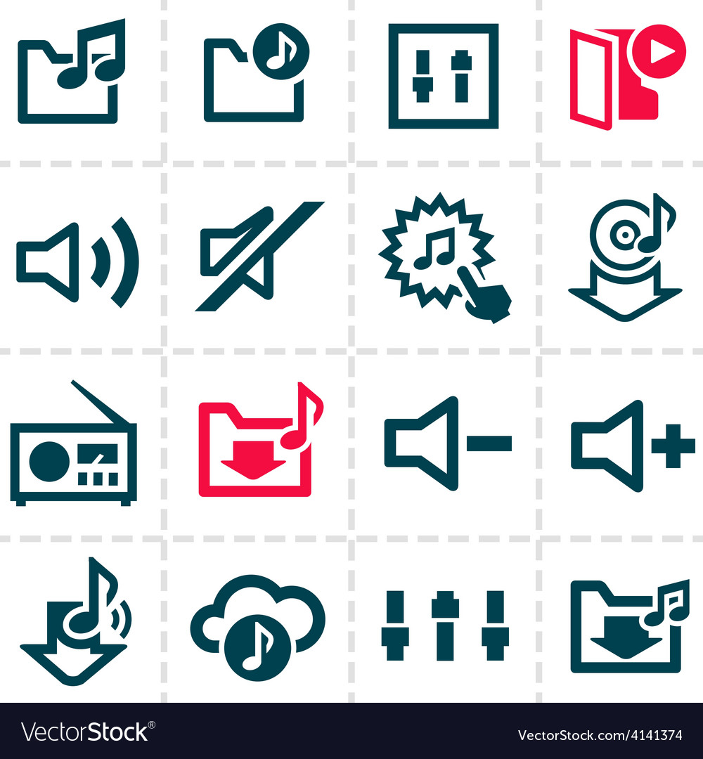 Music line icons vector