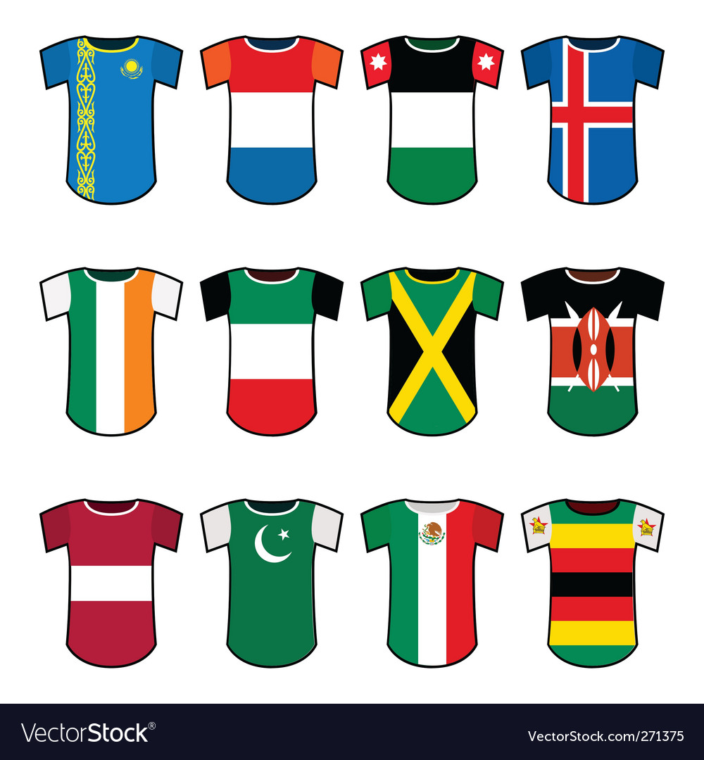 National soccer uniforms vector