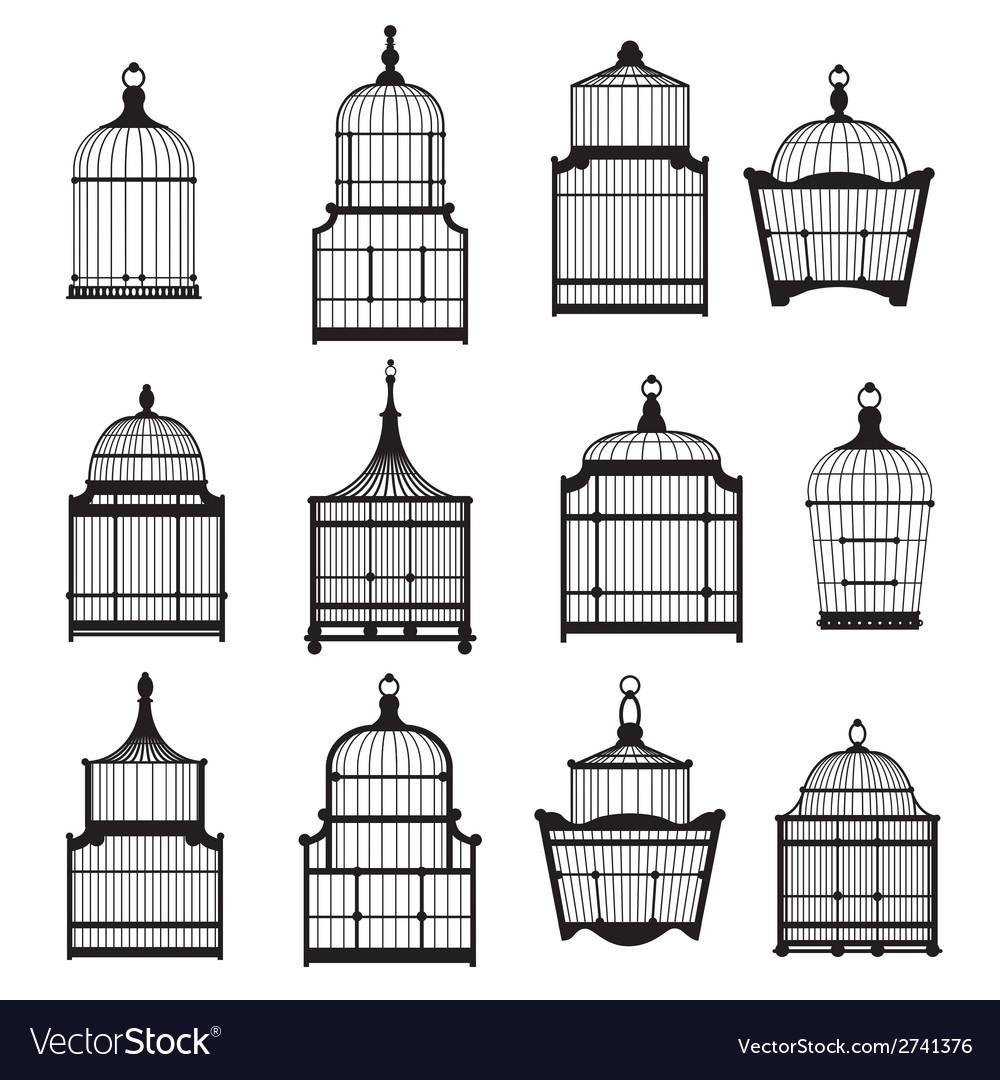 Se of vintage birdcages 03 vector