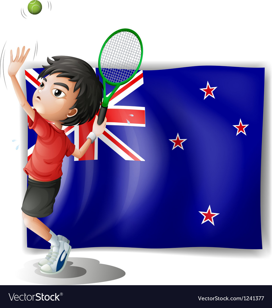 A young tennis player in front of the new zealand vector