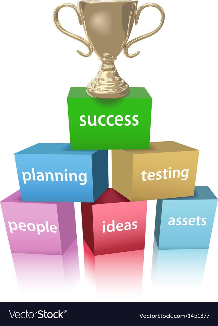 Business model win success trophy vector