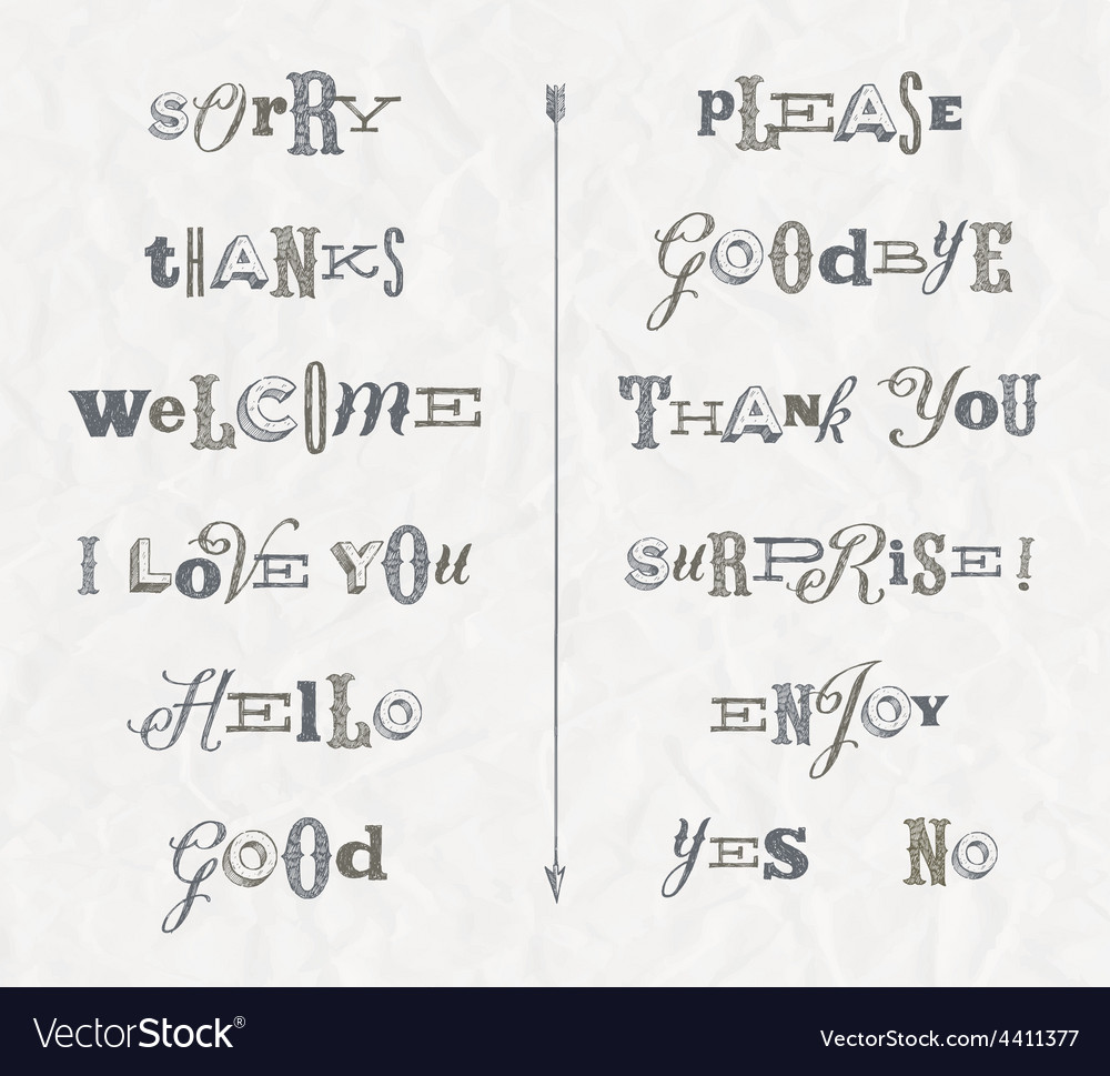 Set hand drawn phrases and words vector