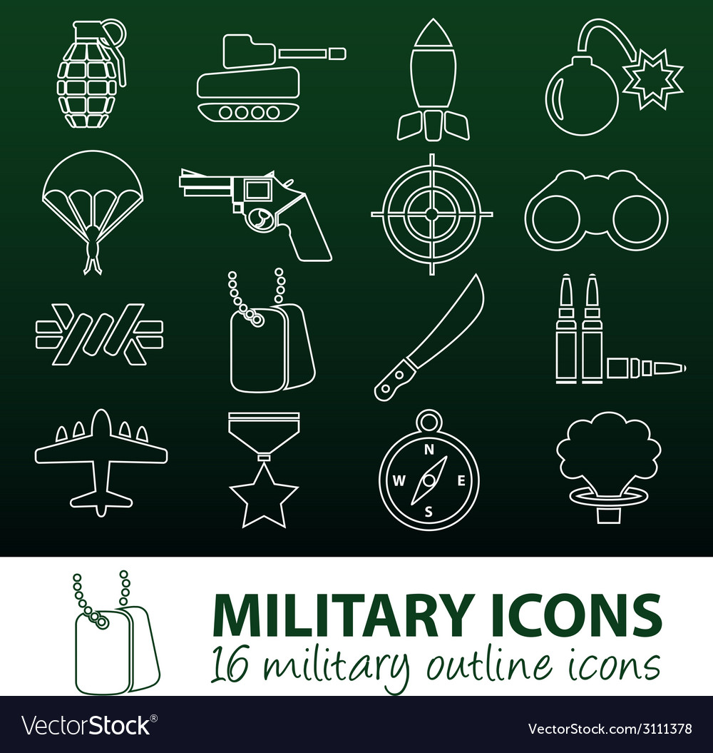 Military outline icons vector