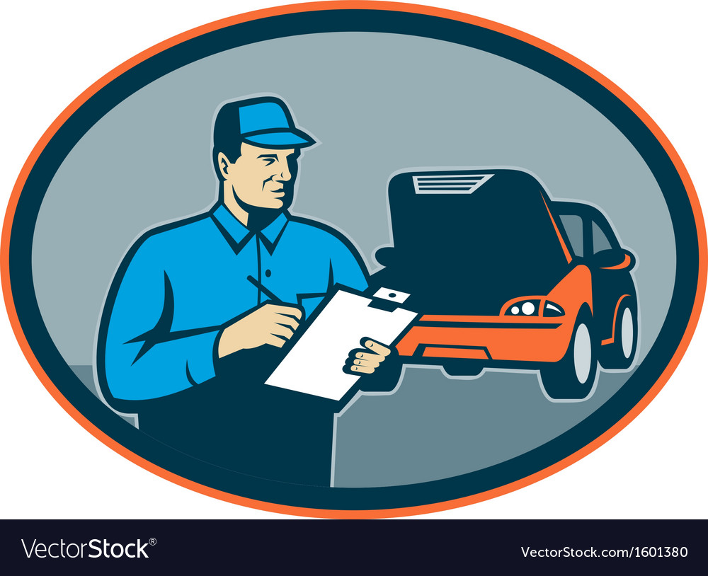 Automobile car repair mechanic with clipboard vector