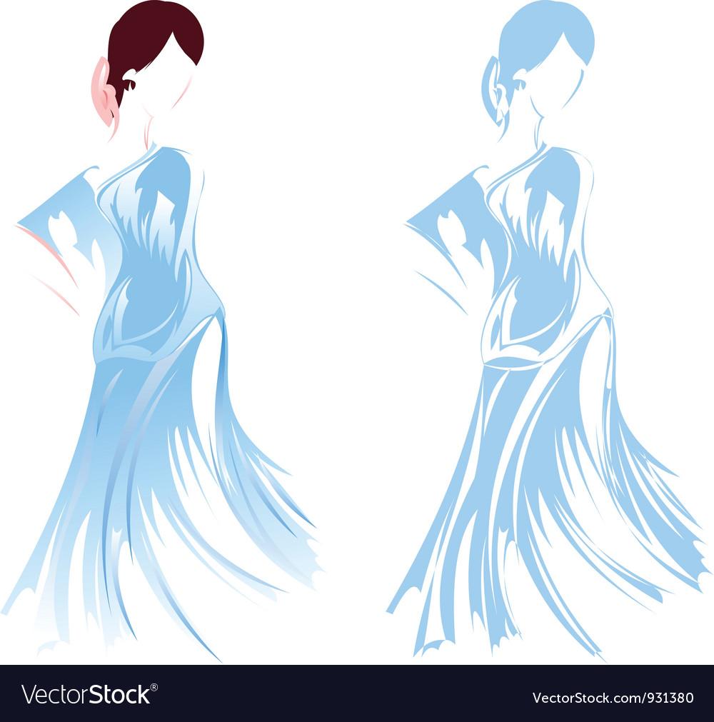 Romantic girl sketch vector