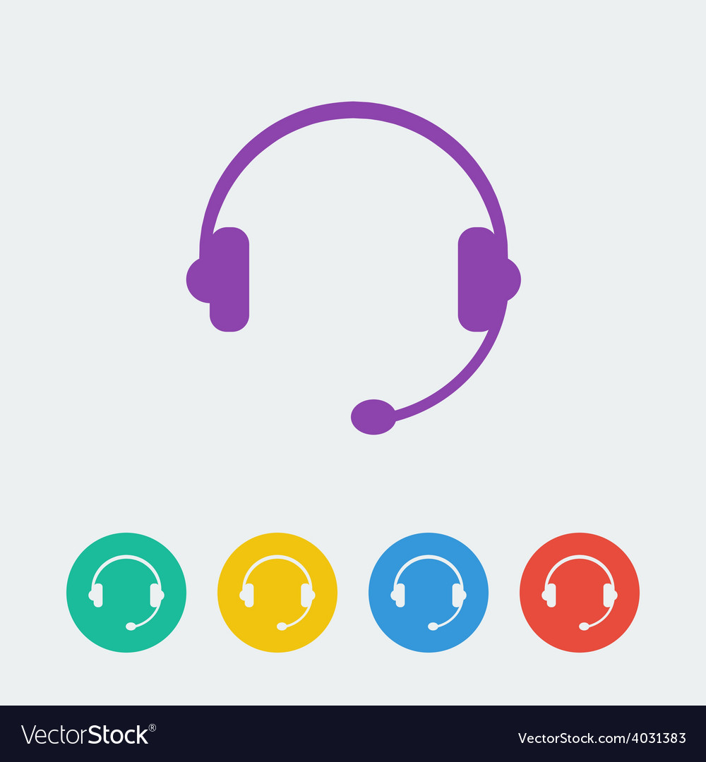 Headset flat circle icon vector