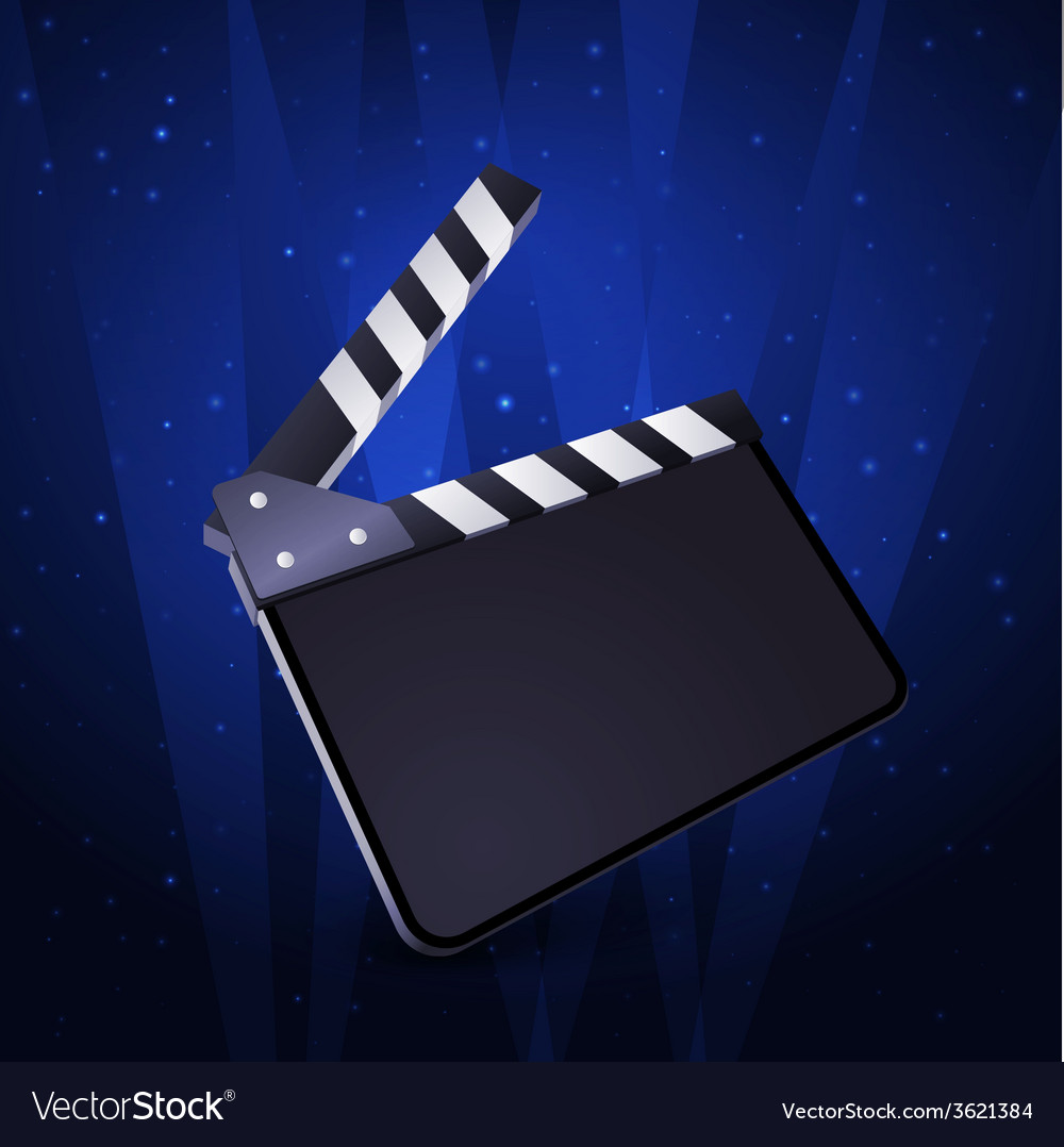 Clapper board blank movie production on white vector