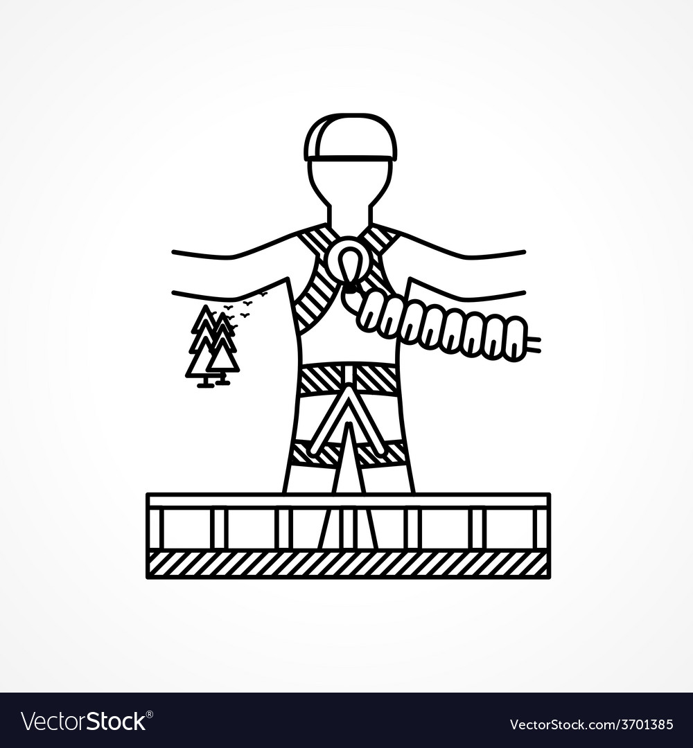 Abstract icon for extreme sport rope jumper vector