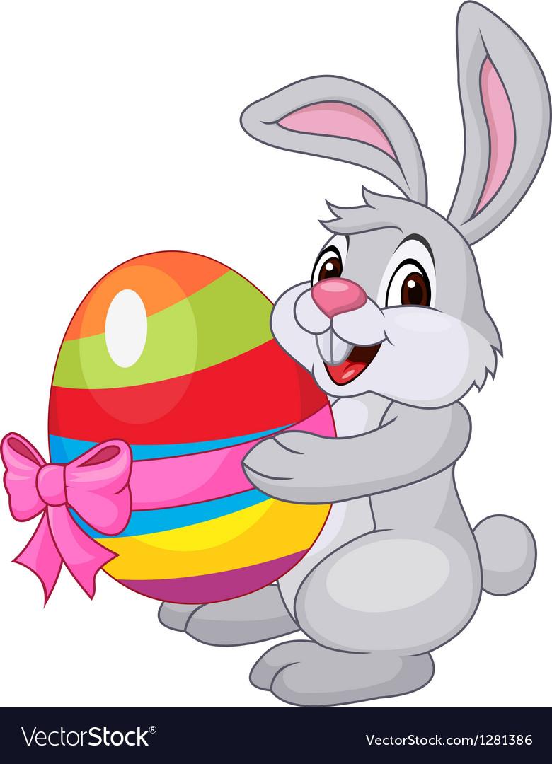 Cute rabbit cartoon holding easter egg vector