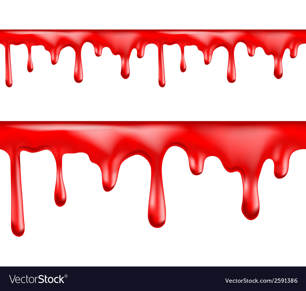 Red blood drips seamless patterns vector