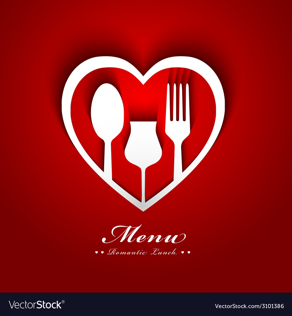 Romantic lunch menu design vector