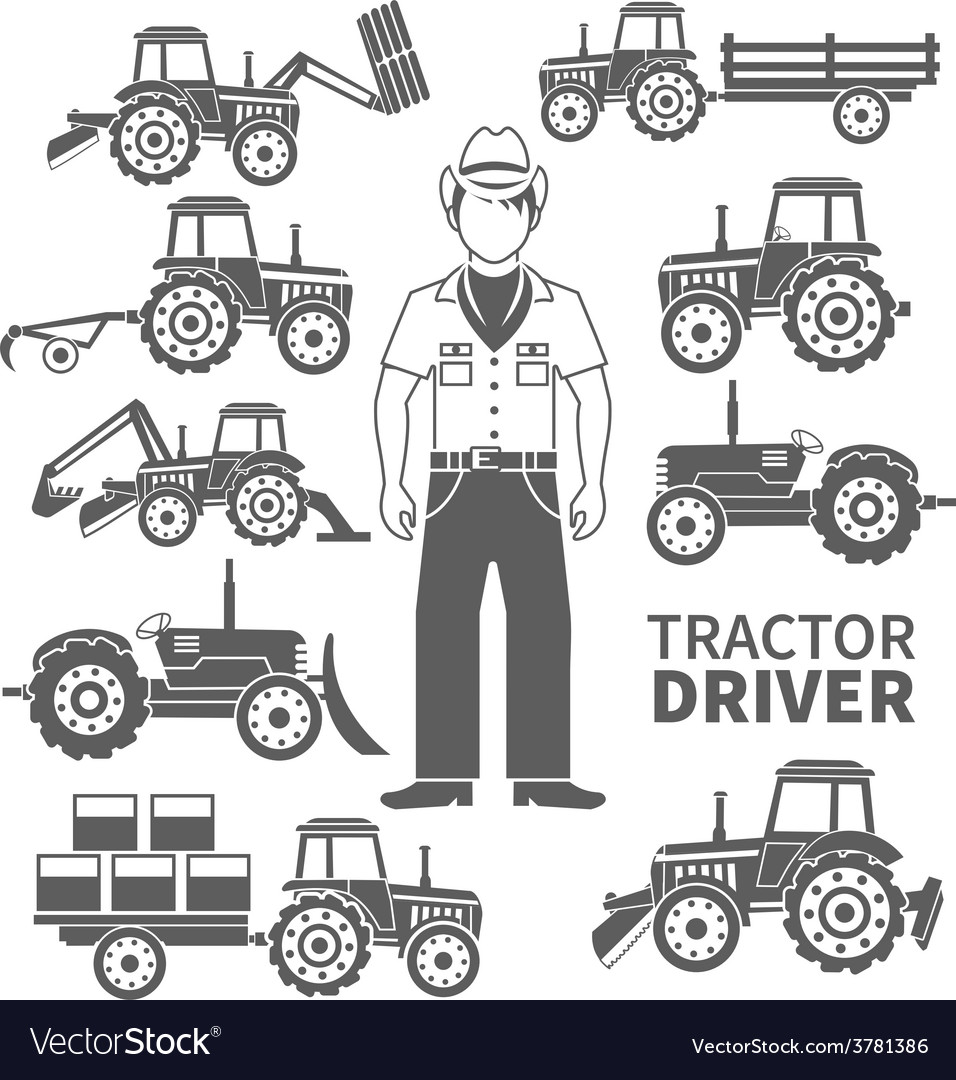 Tractor driver icons vector