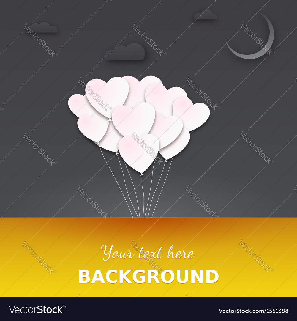 Balloons in the night sky greeting card with place vector