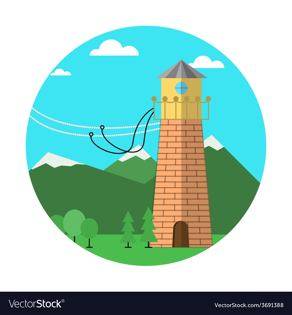 Flat colored icon for rope jumping vector