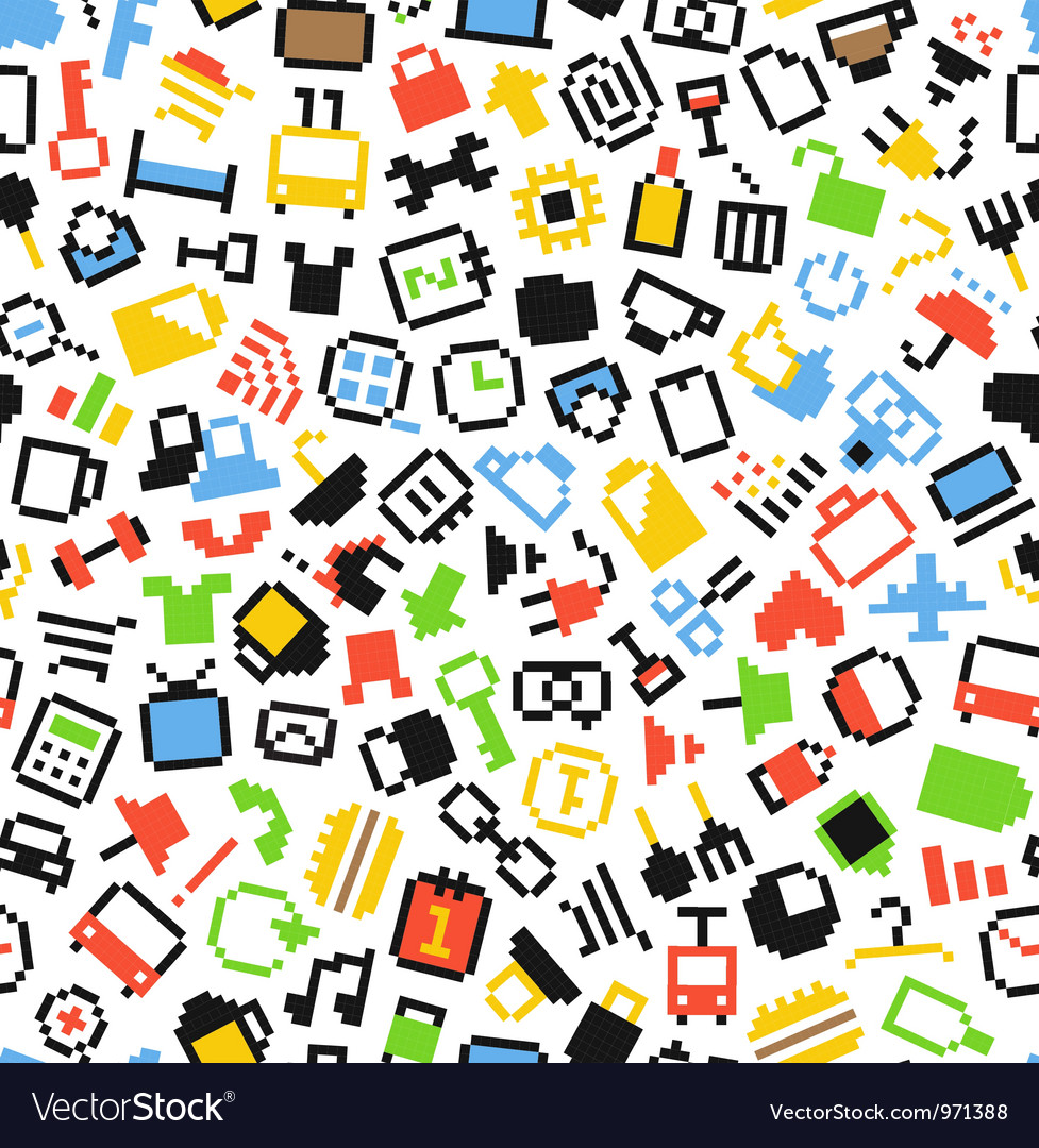 Pixel icons seamless background vector