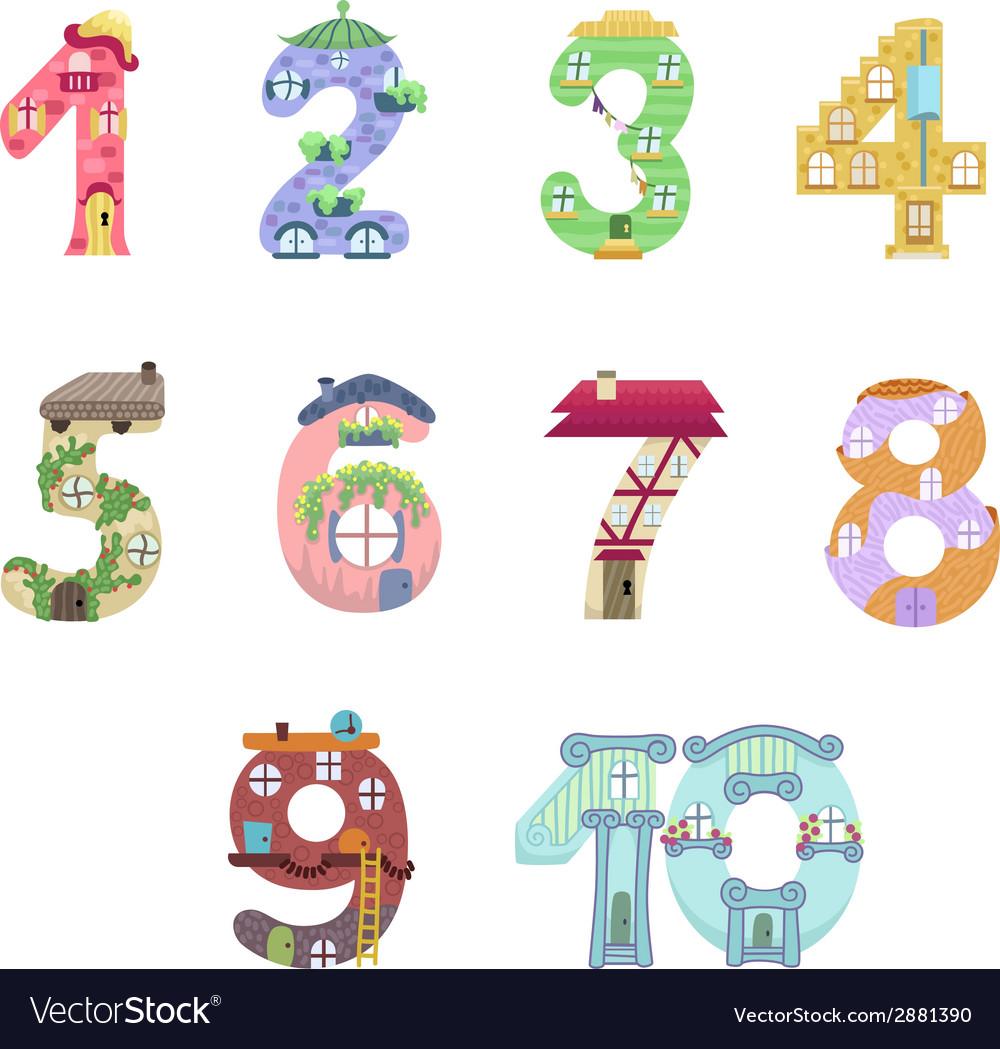 Numbers like fairy houses vector