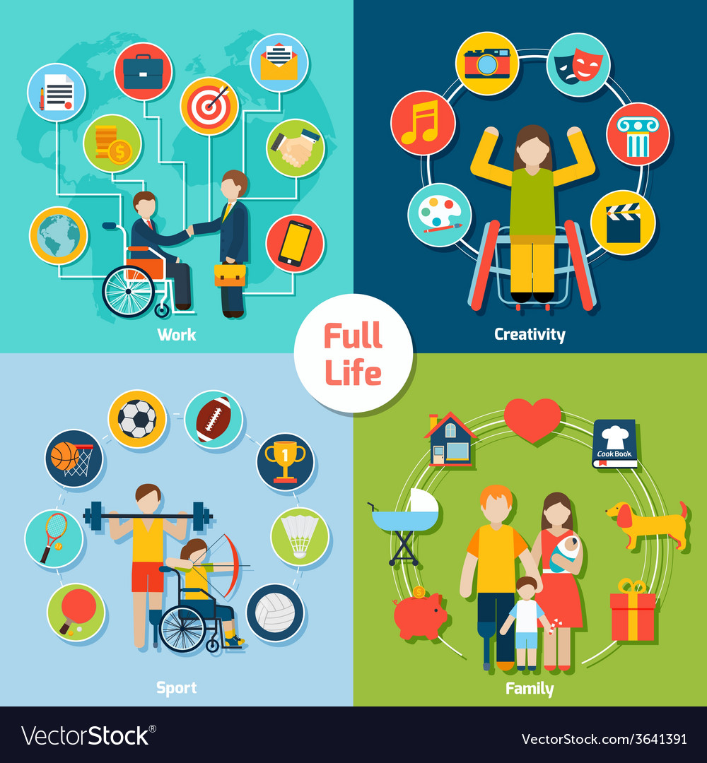 Disabled life set vector