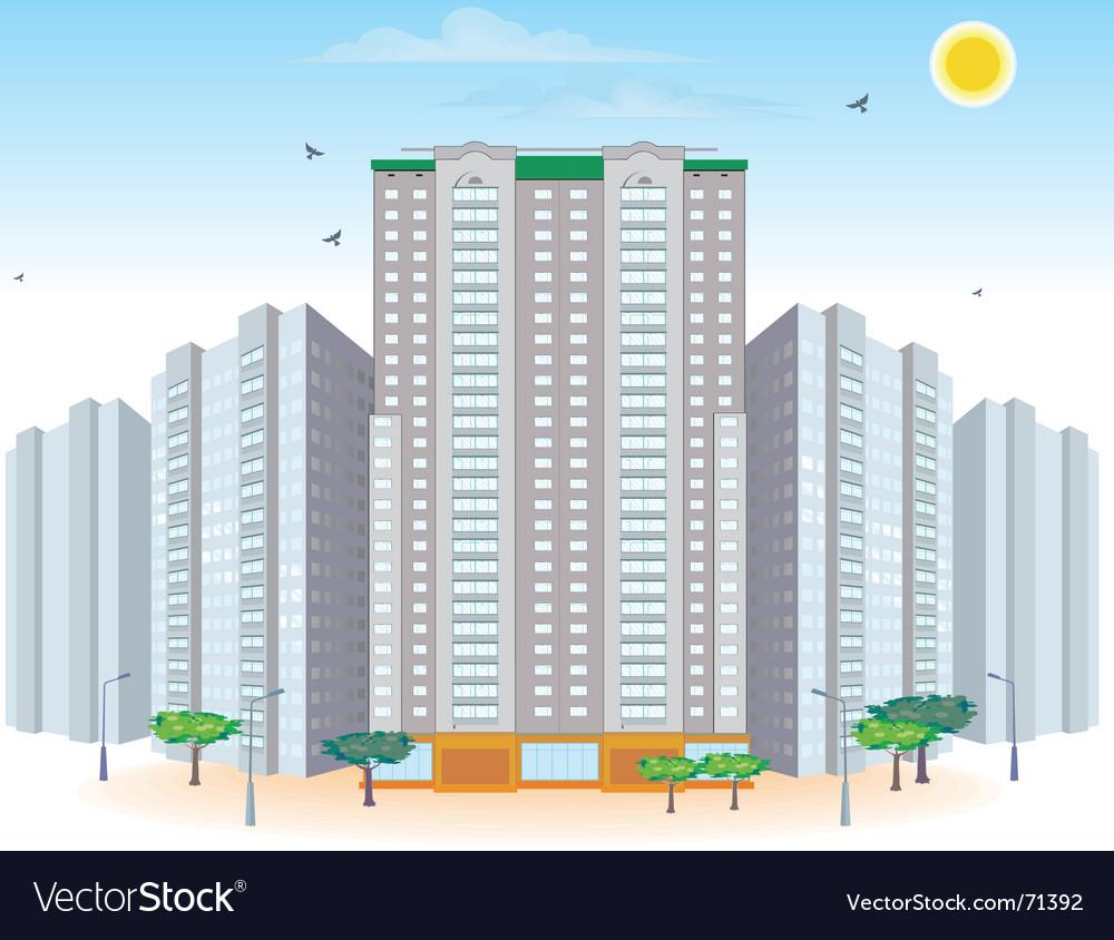 Multi-storied buildings vector