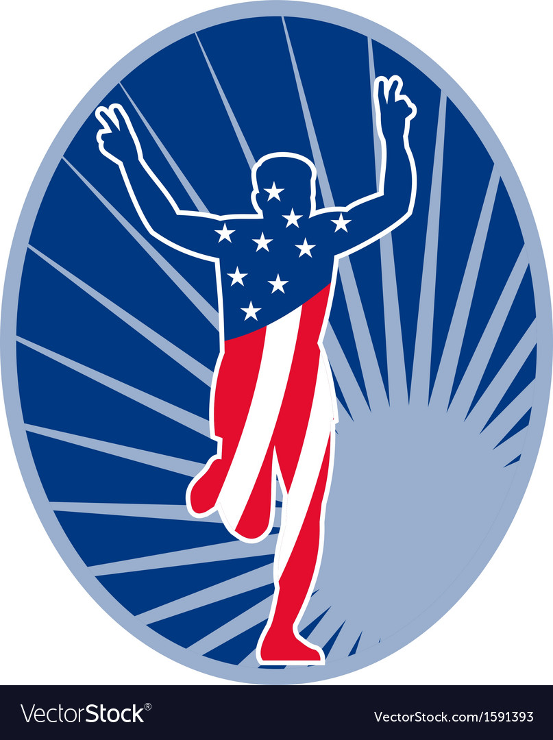 American marathon runner run race vector