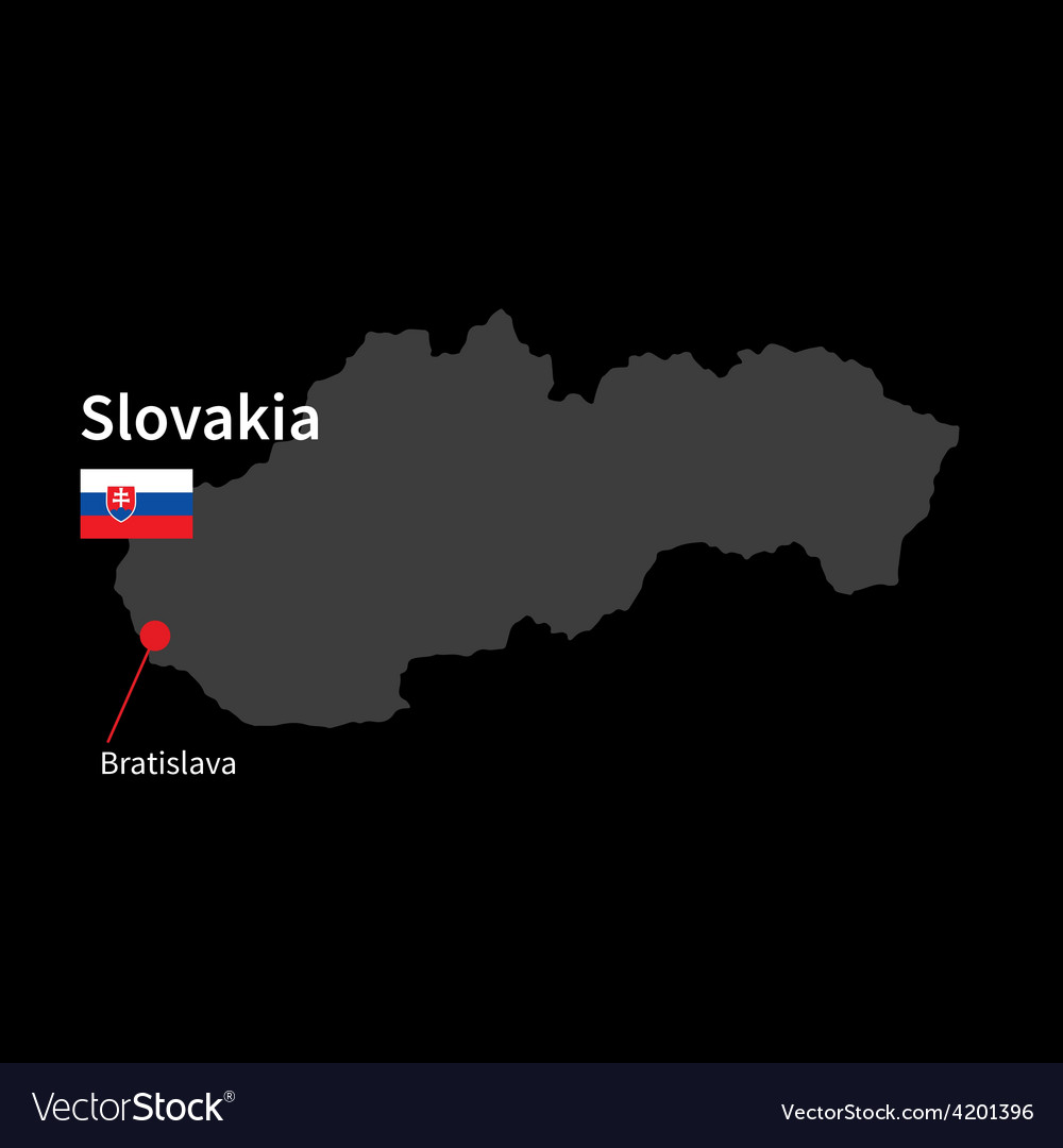 Detailed map of slovakia and capital city vector