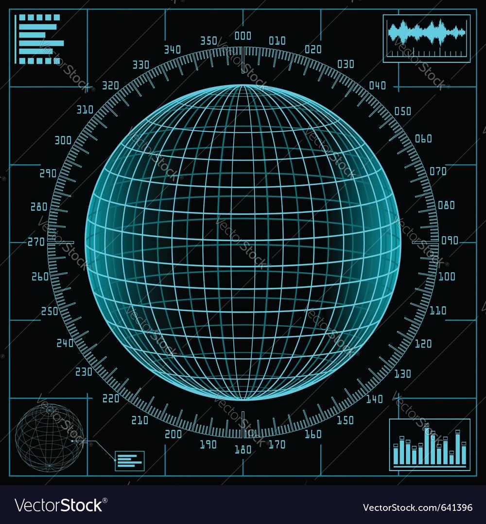 Radar screen digital vector