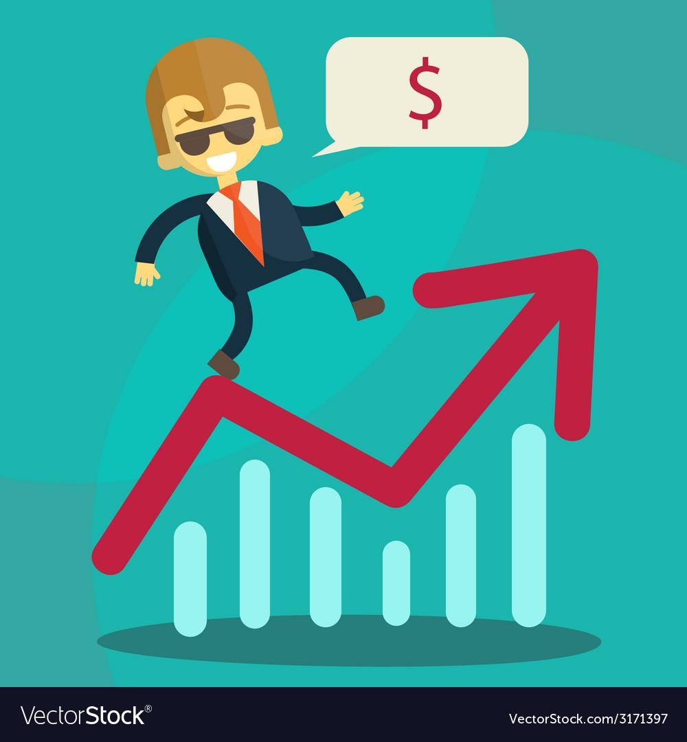 Cheerful businessman climbing a bar chart vector