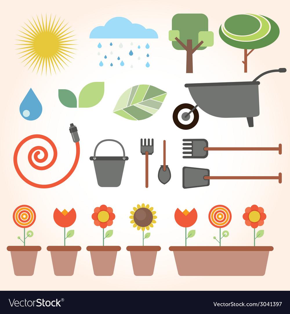 Set of flat gardening icons vector