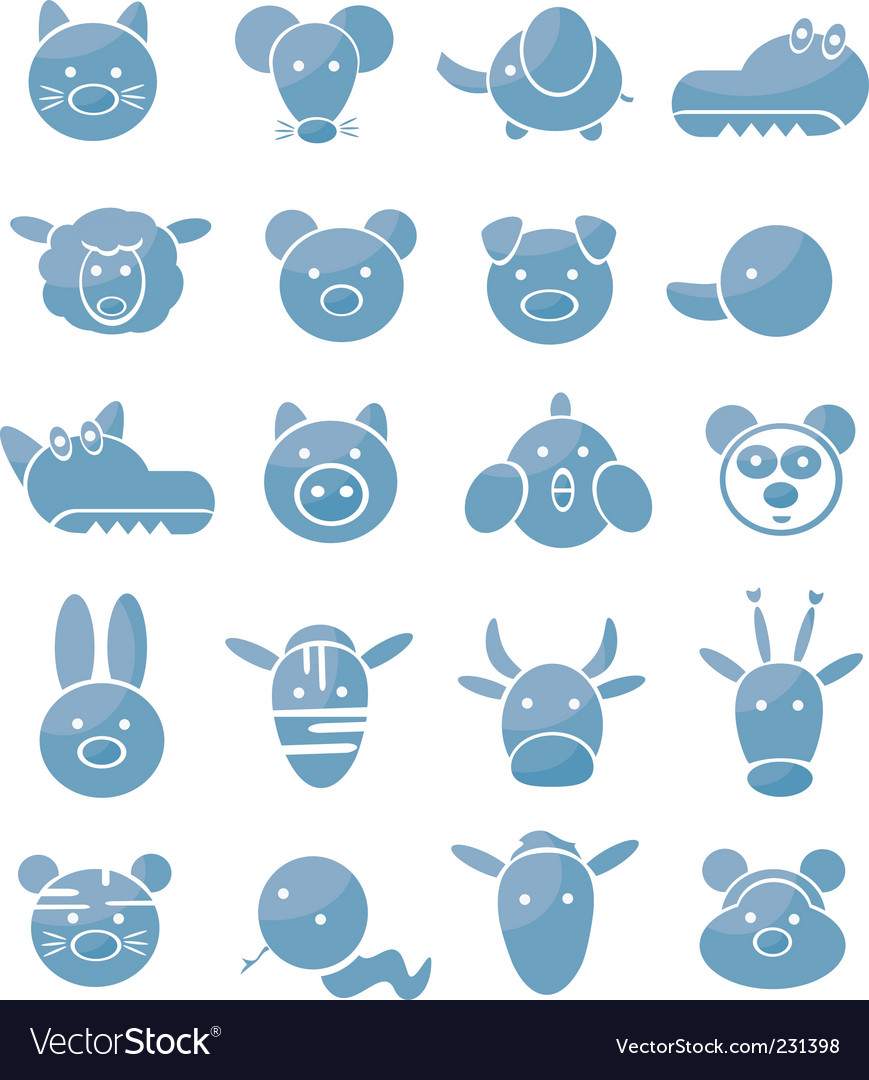 Set of icons cute animals vector