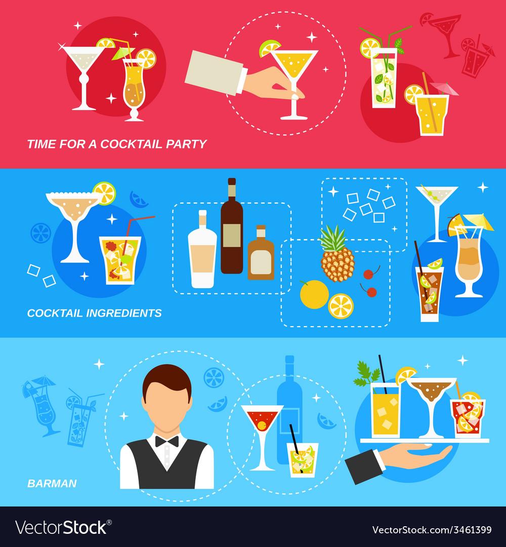 Alcohol cocktails banner set vector