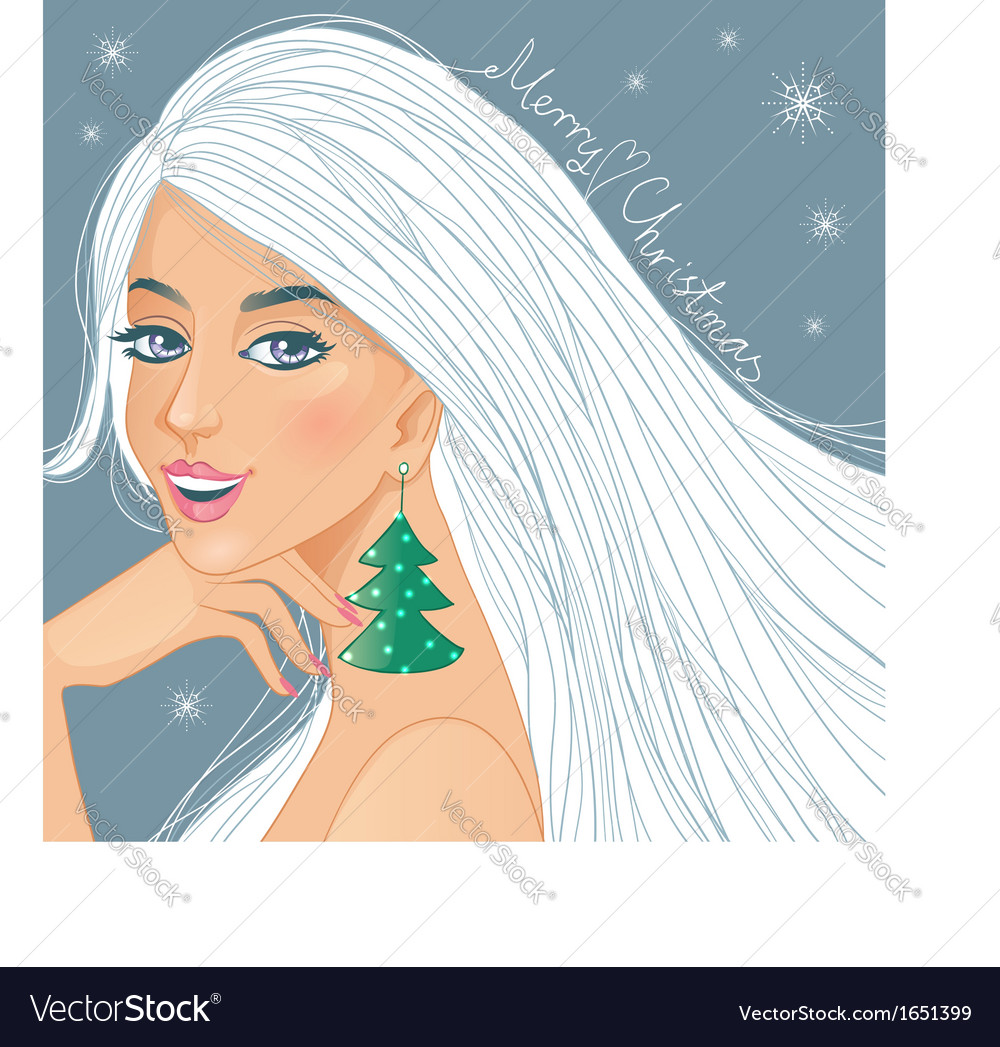 Cute fantasy girl with christmas greetings vector