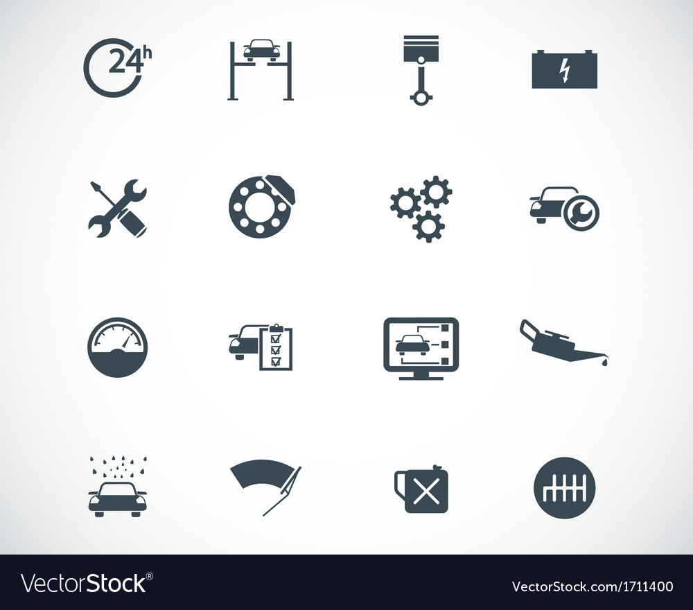 Black car service set vector