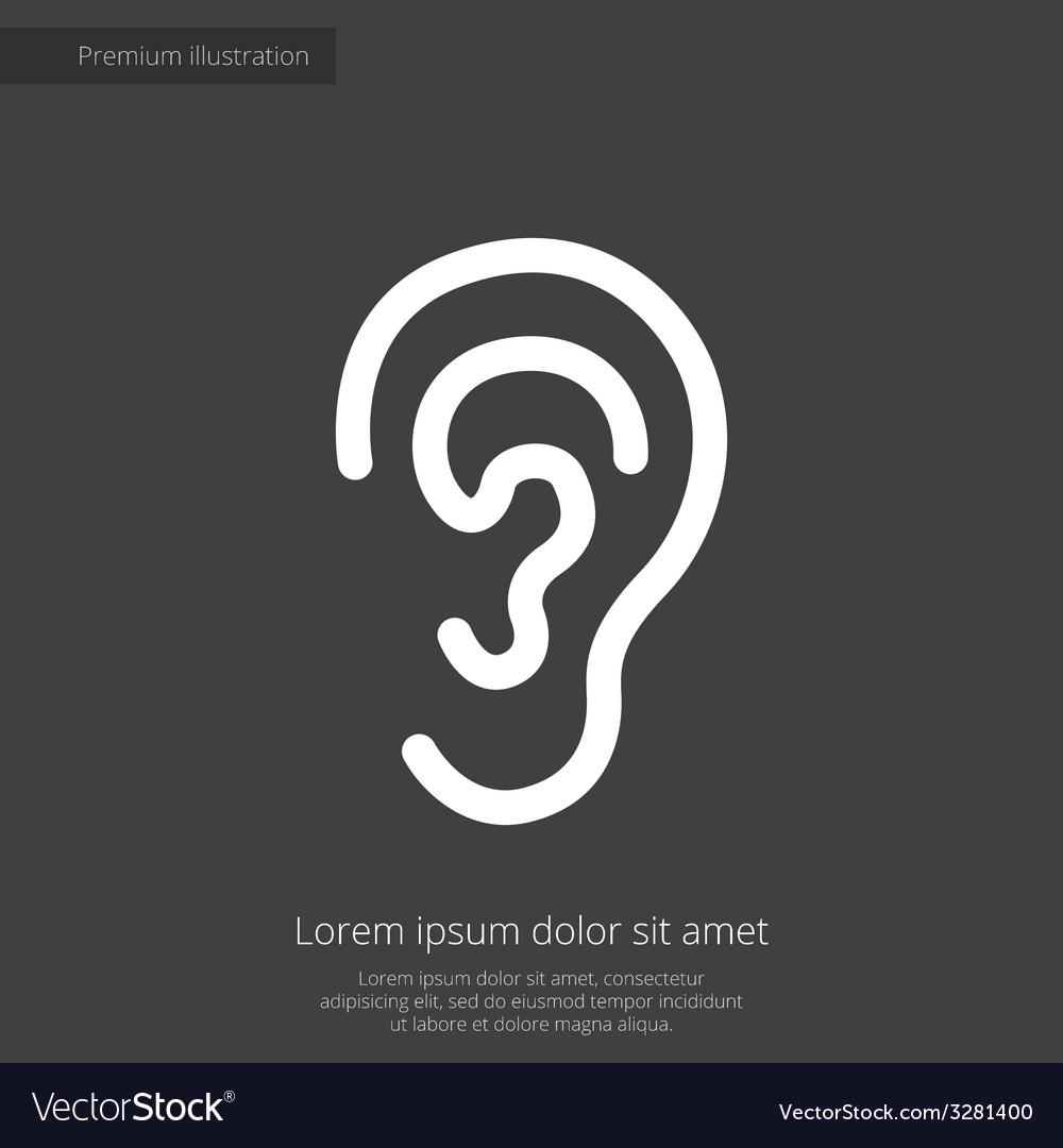 Ear premium icon white on dark background vector